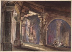 'Interior of the Temple at Somnath Kattywar. 4 January 1857. Fanny Keatinge sketching and Col. W. Anderson reading'.